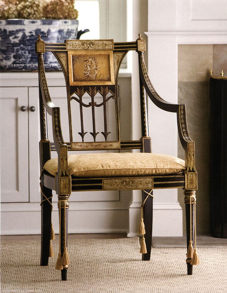 Sheraton armchair with antiqued black and gold finish · Nice FurnitureLuxury  FurnitureAntique ... - Sheraton Armchair With Antiqued Black And Gold Finish Furniture