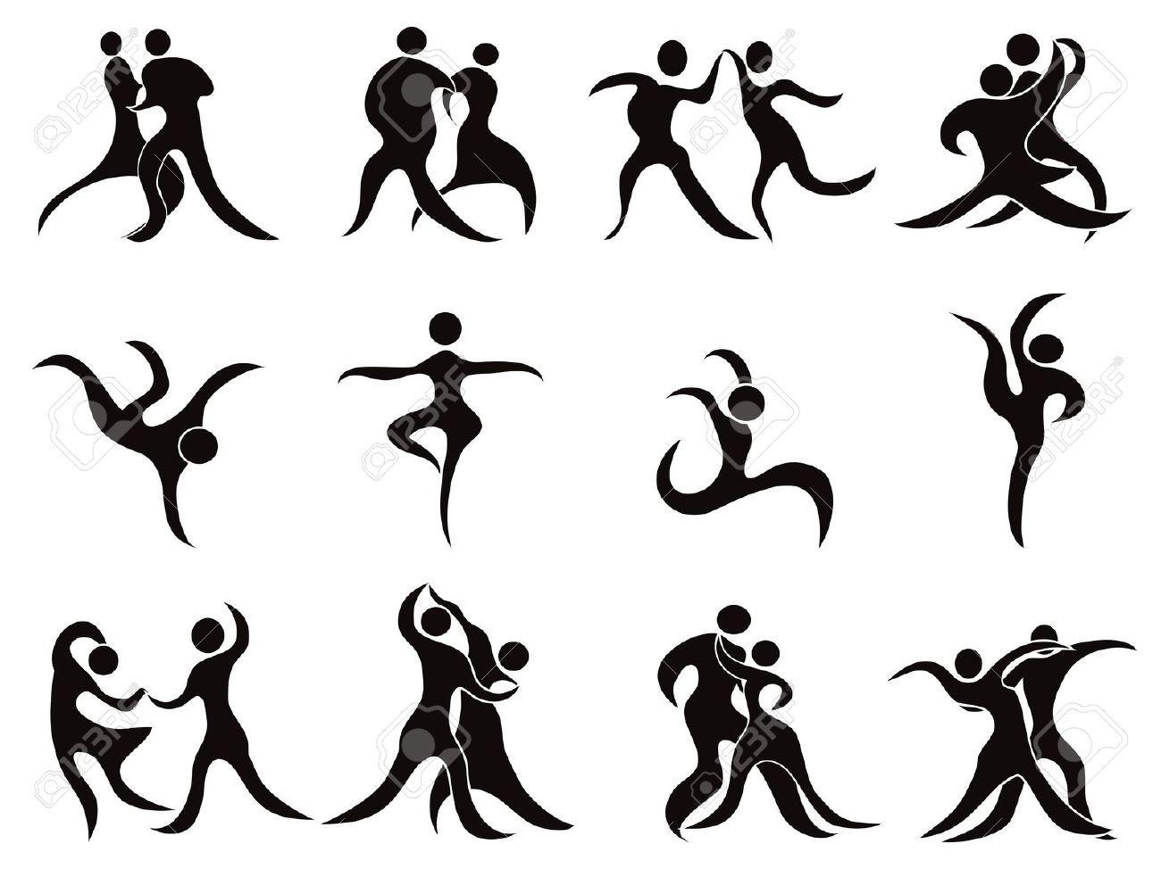 isolés abstraites silhouettes noires sur fond blanc danseurs | Draw ...