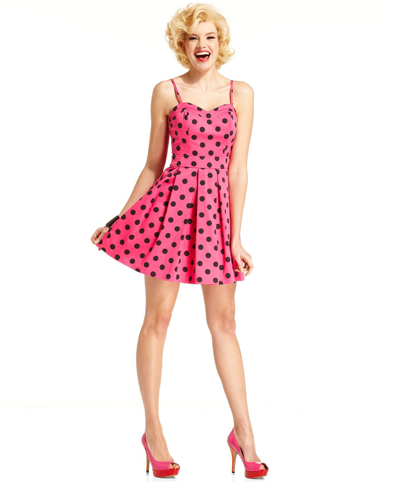Marilyn Monroe Juniors Dress, Sleeveless Polkadot-Print A-Line ...