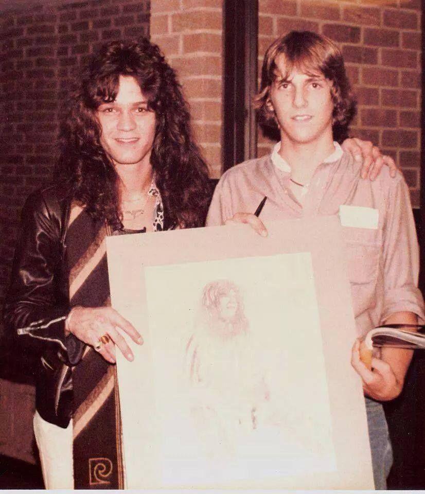 Eddie And A Artist That Drew Him Van Halen Eddie Van Halen Classic Guitar