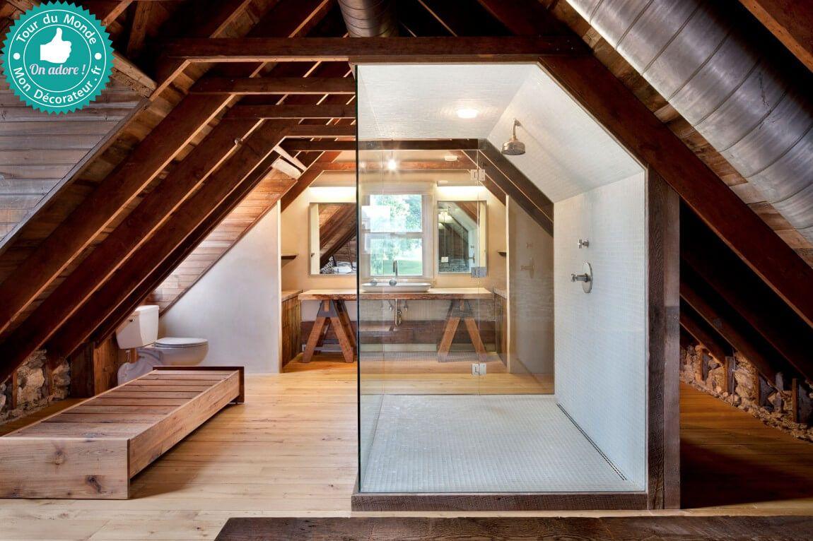 Sous les combles une belle salle de bain esprit authentique on aodre la grande douche l - Une belle salle de bain ...
