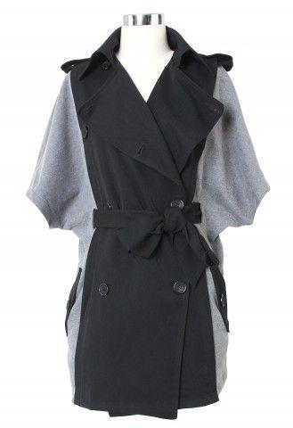 black + gray trench cape.