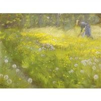 Fru Marie Kroyer i haven på Skagen, by Peder Severin Krøyer - Clearly the morning light and I can smell the young grass.