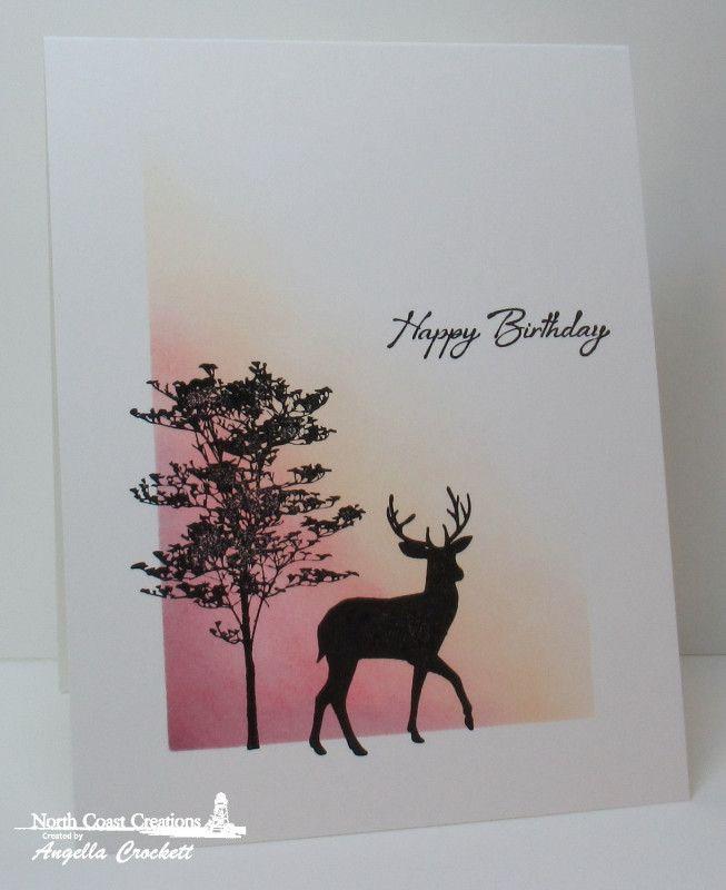 F4a431 Deer Silhouette Birthday By Angelladcrockett At Splitcoaststampers Silhouette Cards Cards Handmade Masculine Birthday Cards