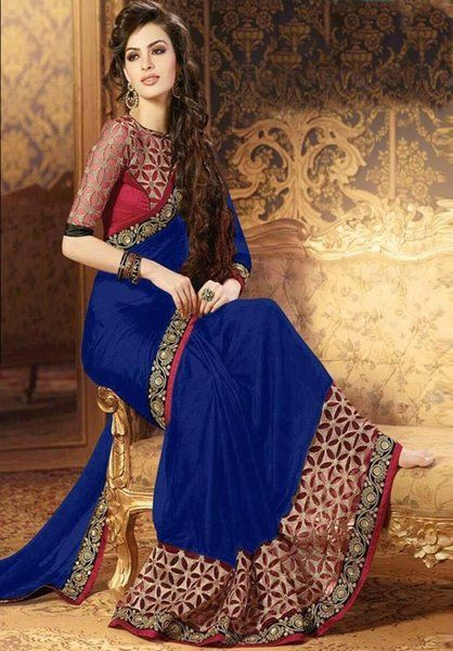 58c03b503d6692 Designer Blue Embroidery Work Georgette Designer Saree With Maroon Banglori  Silk Blouse Fabric