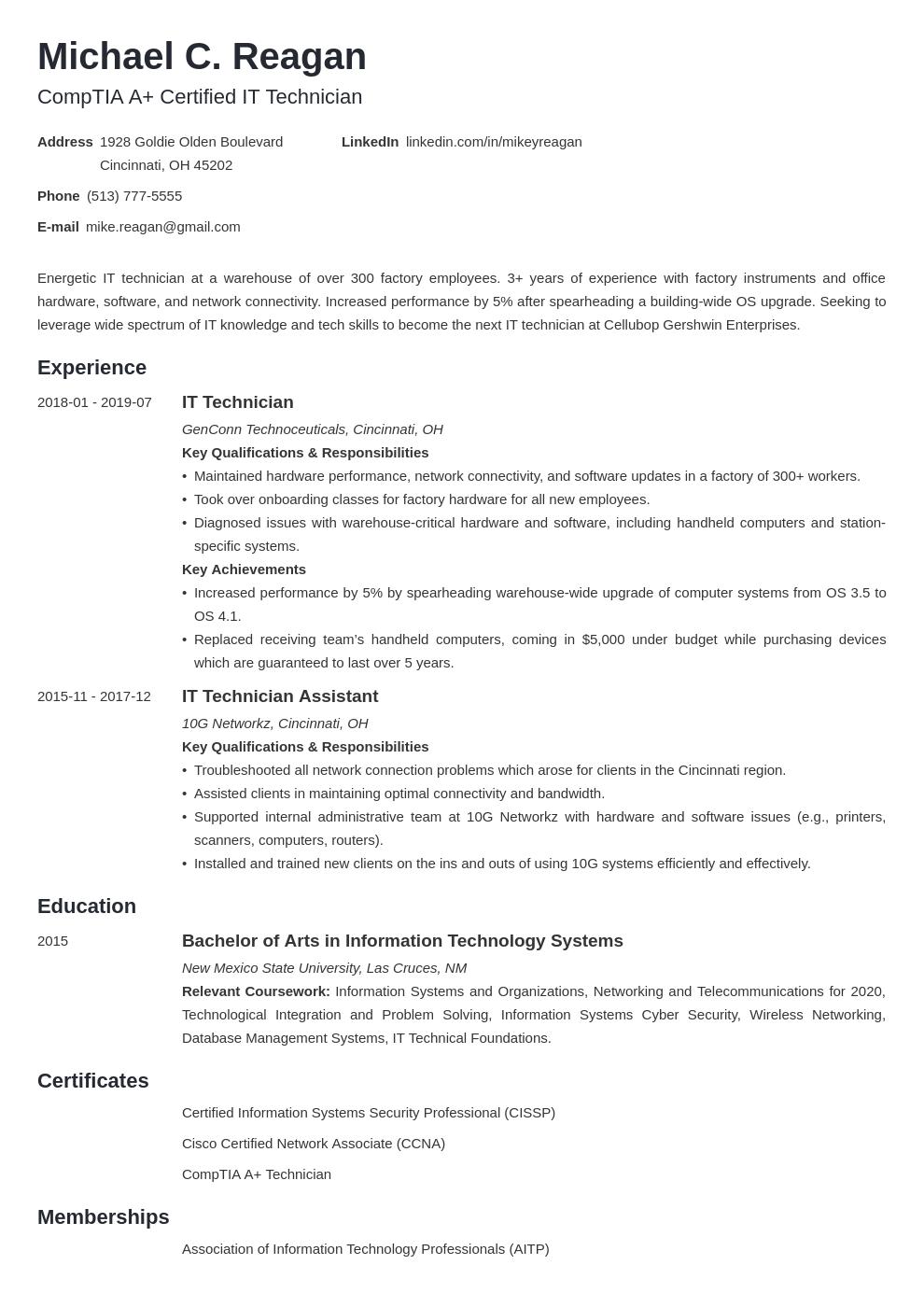 It Technician Resume Example Template Minimo Resume Examples Job Resume Examples Resume