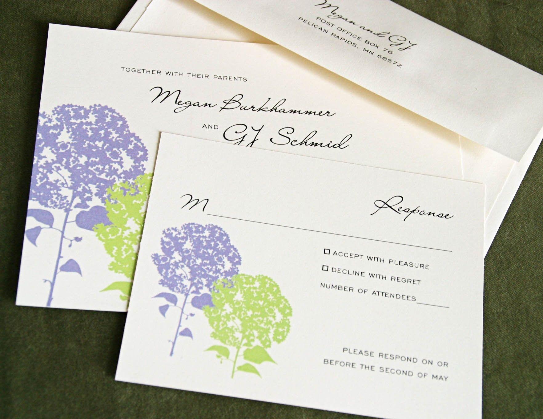 Hydrangea Wedding Suite - Custom Wedding Invitations. Option to ...