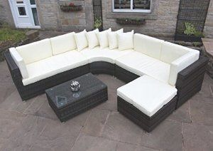 Rattan Outdoor Curved Corner Sofa Set Garden Furniture In Brown By