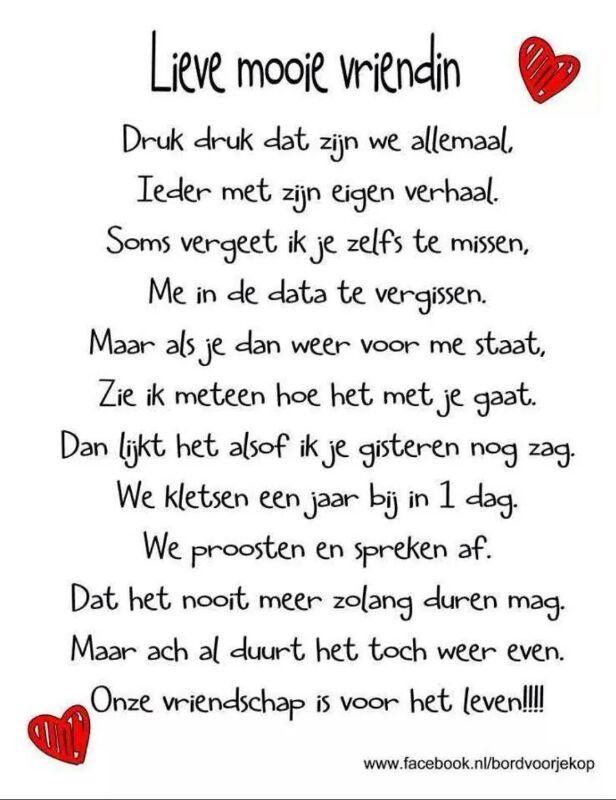 Bedwelming Mooi gedicht voor een vriendin. | Spreuken - Friendship Quotes #KH97