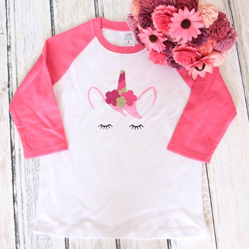 c0b3dee2f Cute Toddler Kids Baby Girls Warm Long Sleeve Unicorn T-Shirt Tops Tees  Outfits