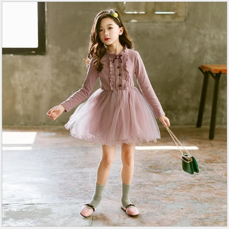d5f519368f girls princess lace tulle dress teenager girls long sleeve dress fall  winter sweet tiered birthday party dress for school girls