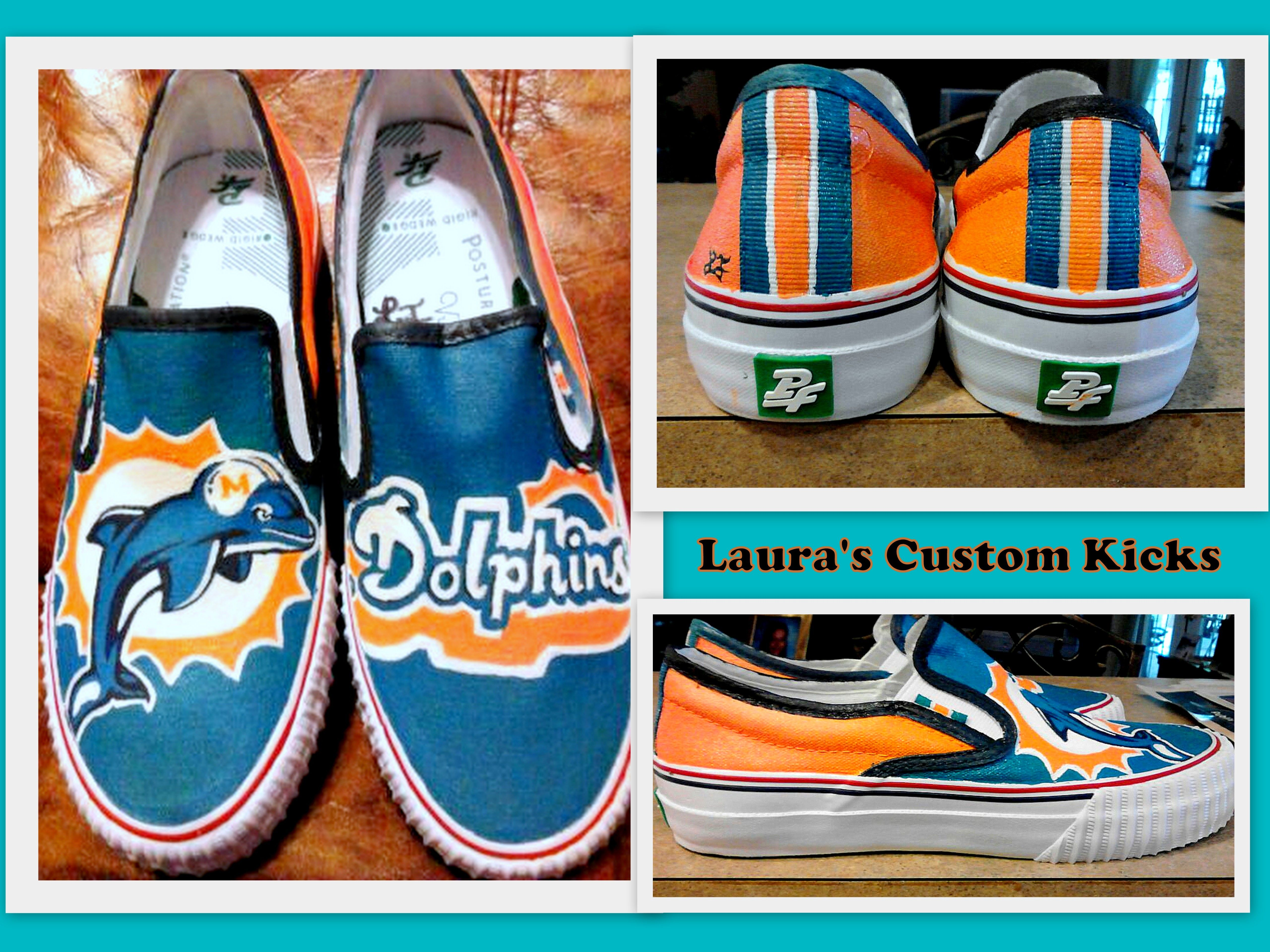 Custom hand painted Miami Dolphins shoes. DIY canvas crafts ...
