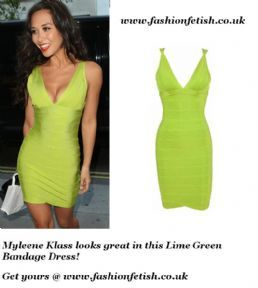 Get this Gorgeous Green Bandage Dress here http://www.fashionfetish.co.uk/myleene-klass-lime-green-bandage-dress-3092-p.asp