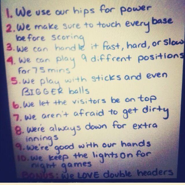 10 Reasons To Date A Softball Player Softball Players Softball Big Balls