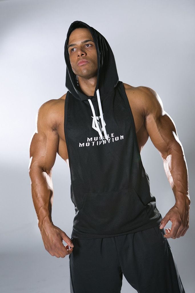 Men/'s G-Cool Sleeveless Zip Up Hoodie Black