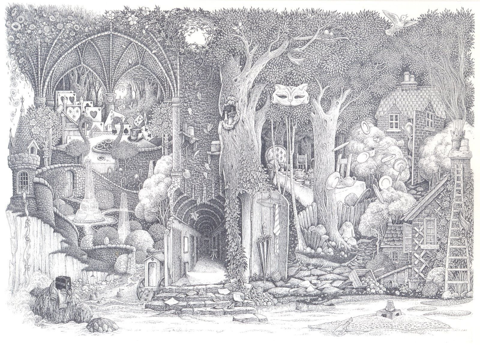 this drawing was made for the endpapers of an edition of Alice in Wonderland but in the end it was used as the cover for the Japanese edition. If you follow the objects round from the top centre, y...