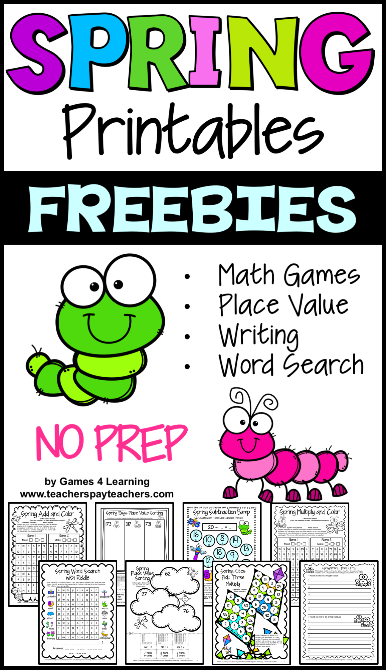 Free Spring Break Packet Math Games Writing Word Search