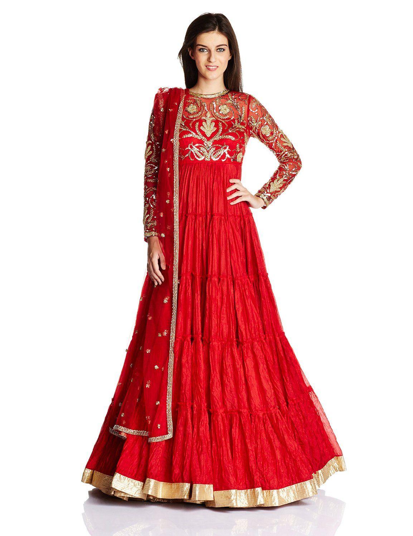 f7477952ca3 Vogue Women s Crepe Anarkali Salwar Suit Set (VOGPP29 Red S)  Amazon.in   Clothing   Accessories