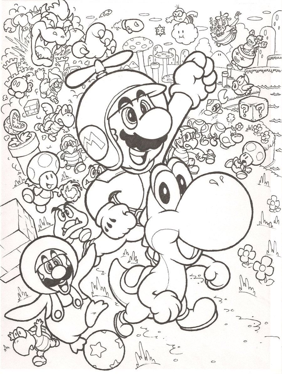 Mario bros coloring pages printables - Super Mario Bros Coloring Pages Free Large Images