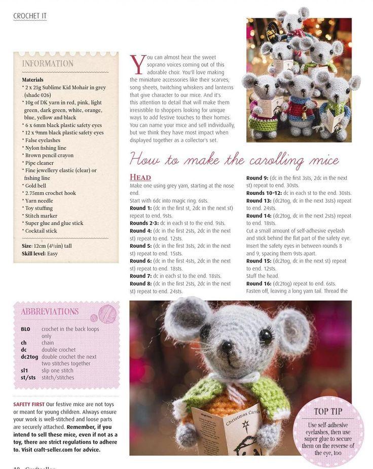 Carol Singer Mouse Crochet Pattern Love Xmas Pinterest Kerst