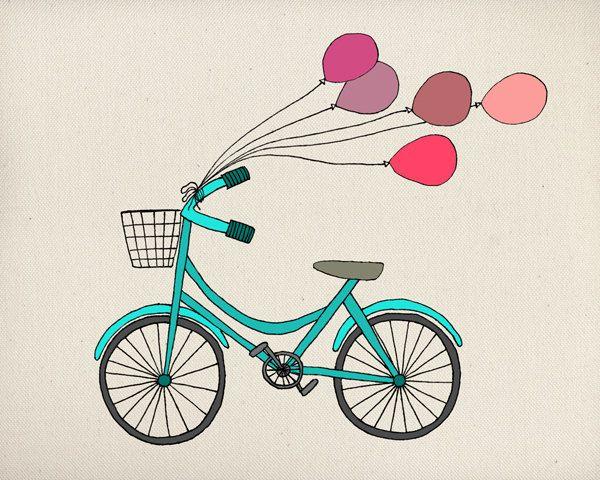 Bike & Ballons Illustration Art Print by sarahfrancesart on Etsy