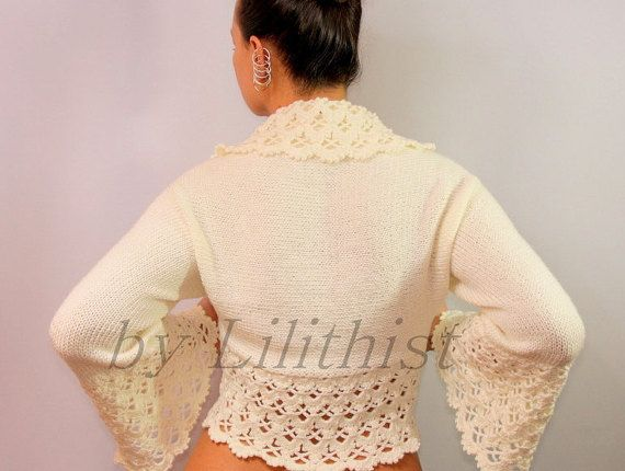 Ivory Bolero, Bridal Shrug, Bolero Jacket, Crochet Shrug, Knit ...
