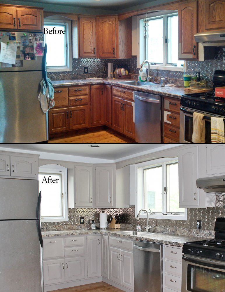 Before  After photos ~ Hand painted cabinets  framework in Studio - Repeindre Une Vieille Cuisine