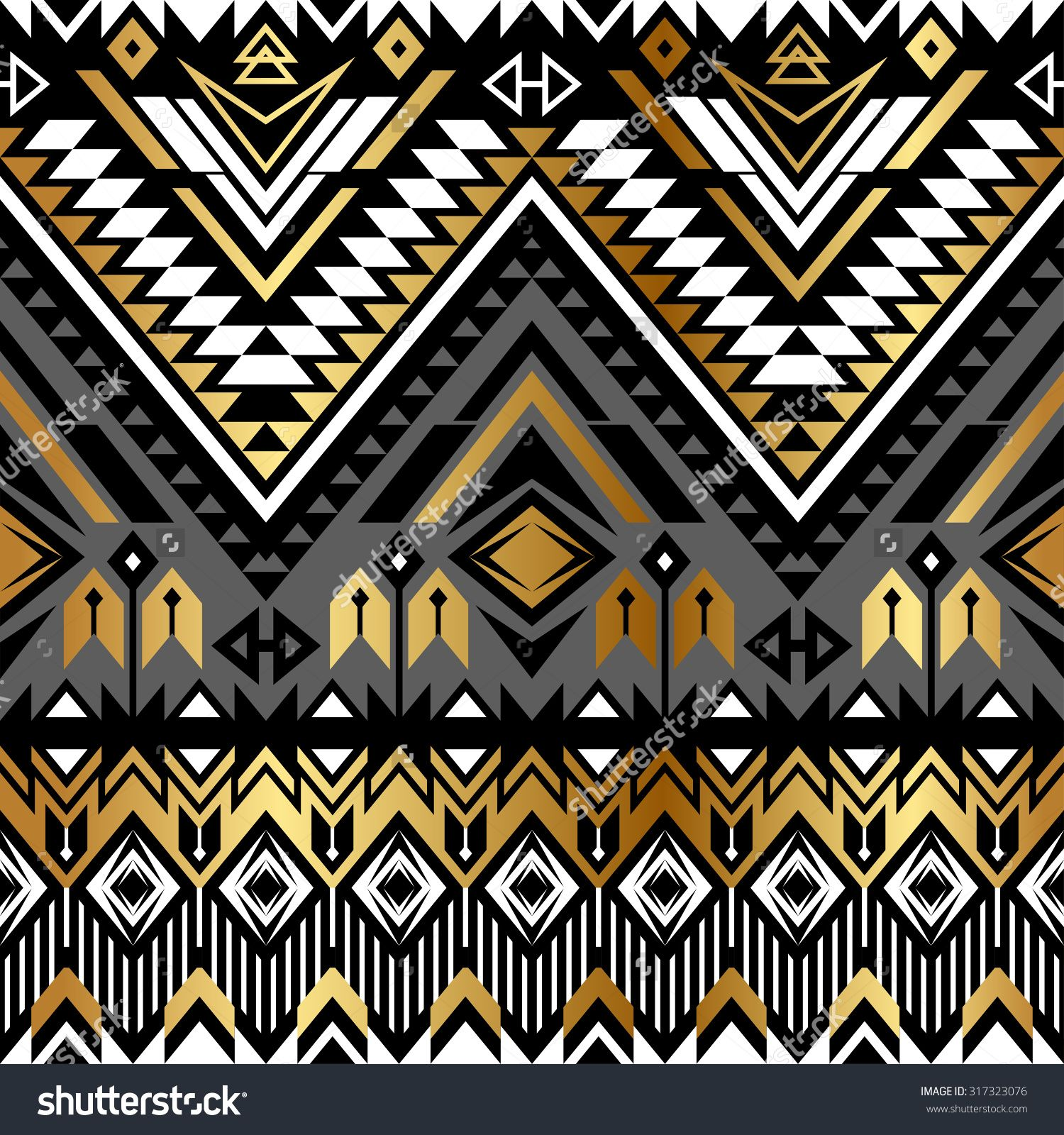 Background geometric mexican patterns seamless vector zigzag maya - Stock Vector Tribal Navajo Ornamental Seamless Pattern Aztec