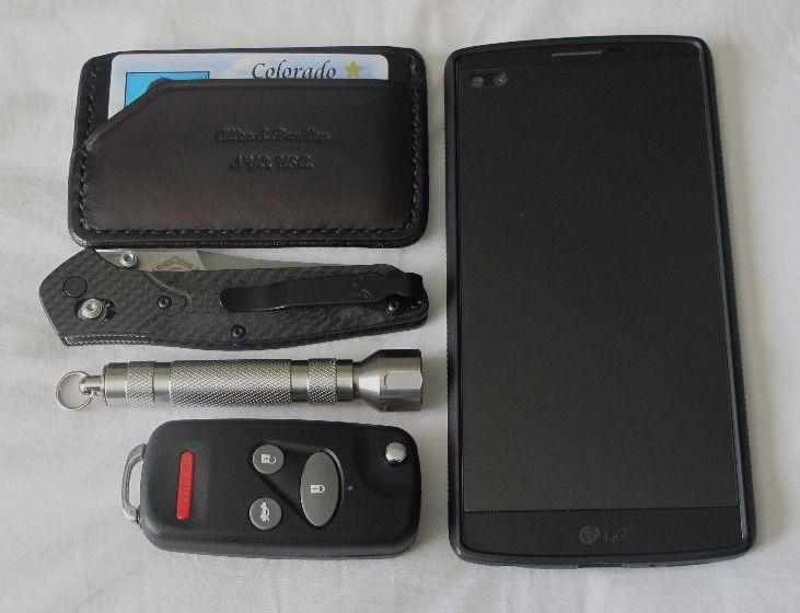 1) Allen & Bradley black chromexcel 2 pocket and cash strap minimalist wallet 2) Benchmade 940-1 Osborne W/ 810 Osborne Contego deep carry clip 3) Peak LED