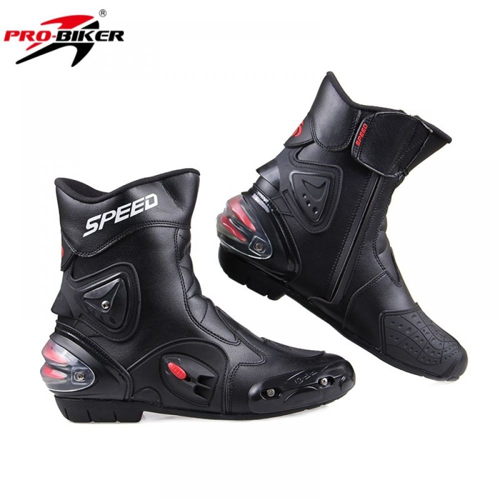 Men Motorcycle Boots PU Leather Motorsport Riding Racing Boots Motocross MX Shoes Motorbike Bike SPEED Protective Gear | Motorycyle Apparels, Parts and Accessories