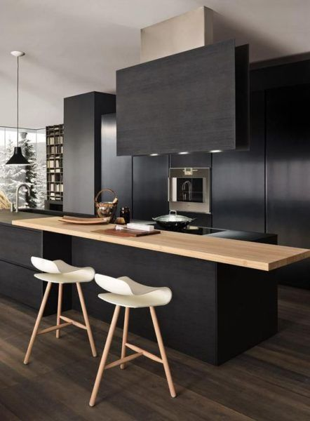 Cuisine noire et bois - black and wood kitchen - soul inside