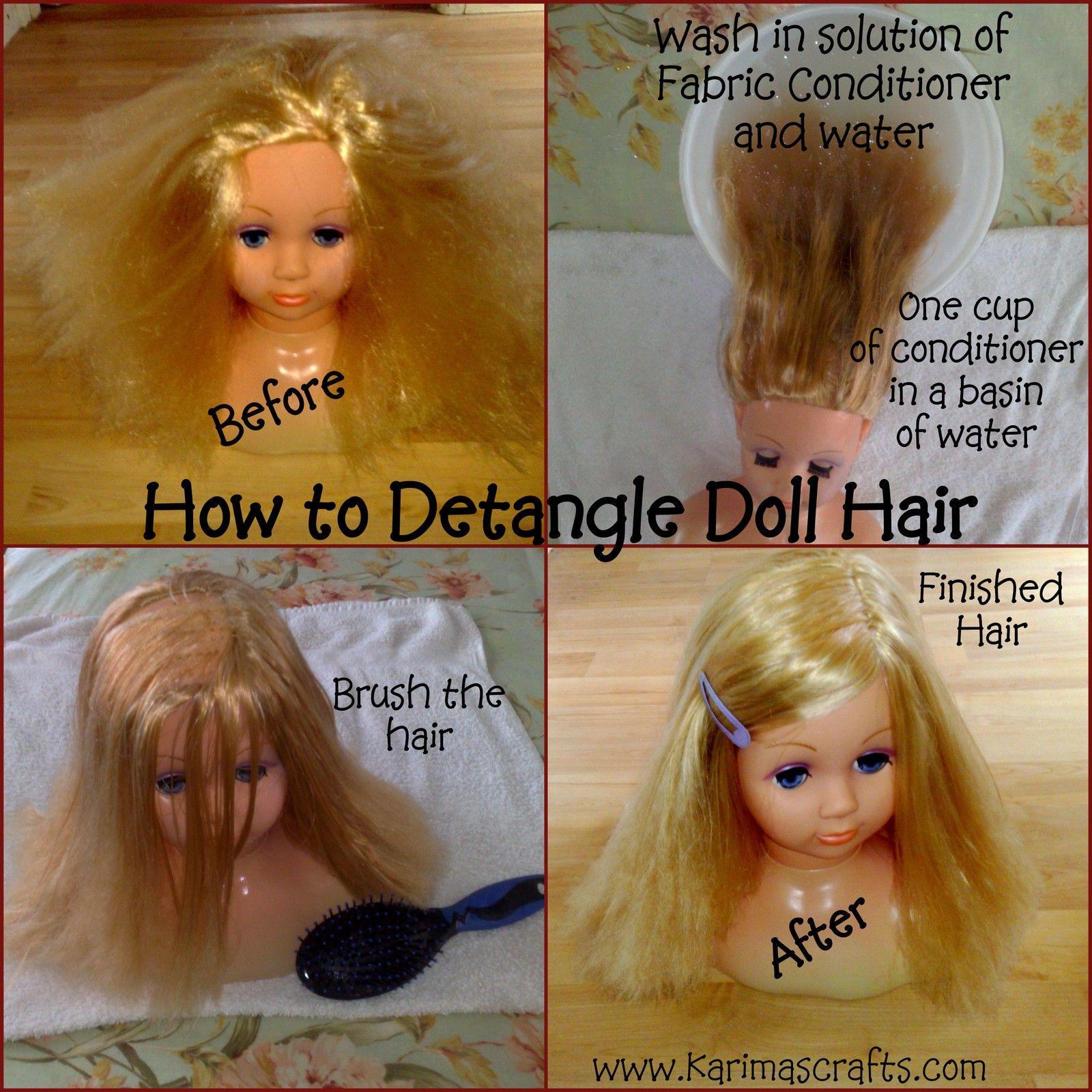 Karima S Crafts How To Detangle Doll Hair Tutorial Doll Hair Detangler Doll Hair Doll Hair Repair