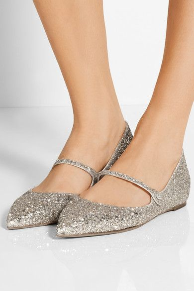 Tabitha Simmons Hermione Glittered Calf Leather Flats xsxTe