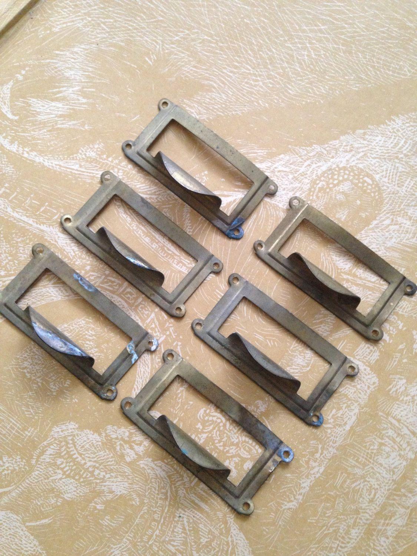 6 Vintage Brass File Drawer Pulls Library Cabinet Hardware Finger Bin Pulls Label Card Holders Repurpose Res Filing Cabinet Vintage Filing Cabinet Cabinet Pull