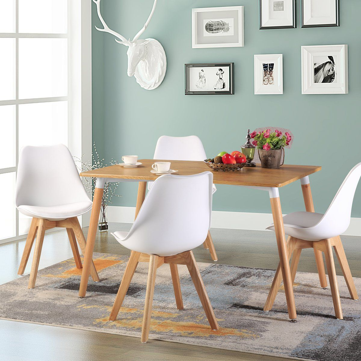 H.JWeDoo Set of 4 Dining Chairs Modern Kitchen Chair with Ecoleather ...