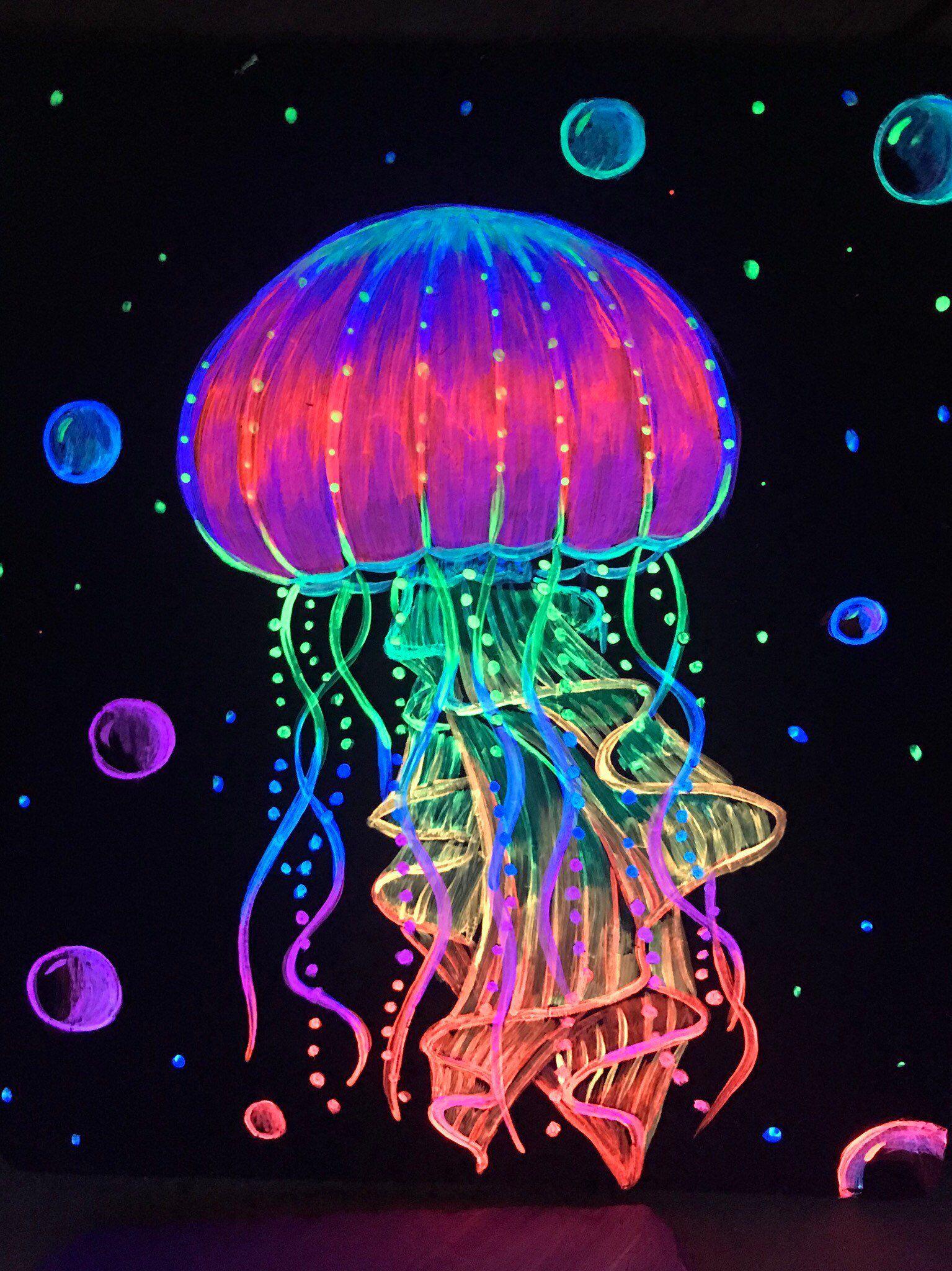 Jellyfish neon | Neon art painting, Glowing art, Jellyfish art