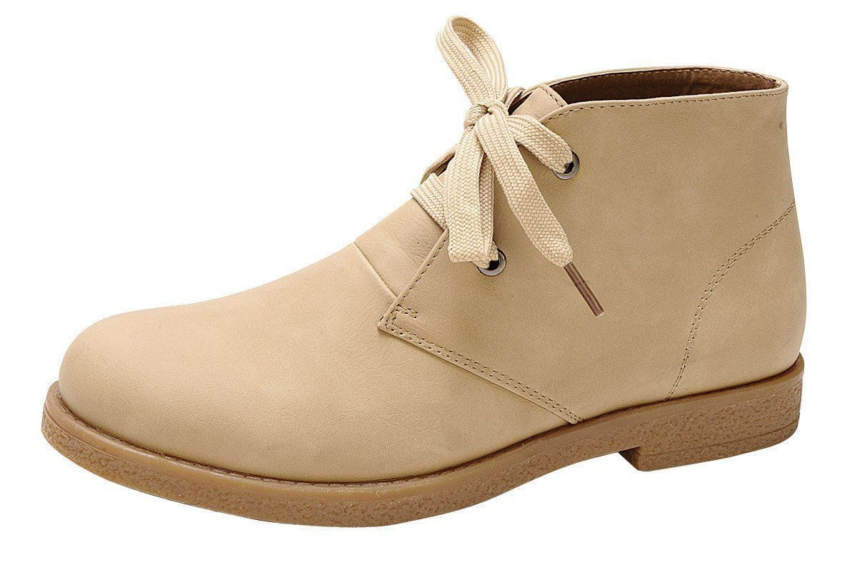 Women's Lace-Up Round Closed Toe Chukka Low Flat Heel Ankle Bootie