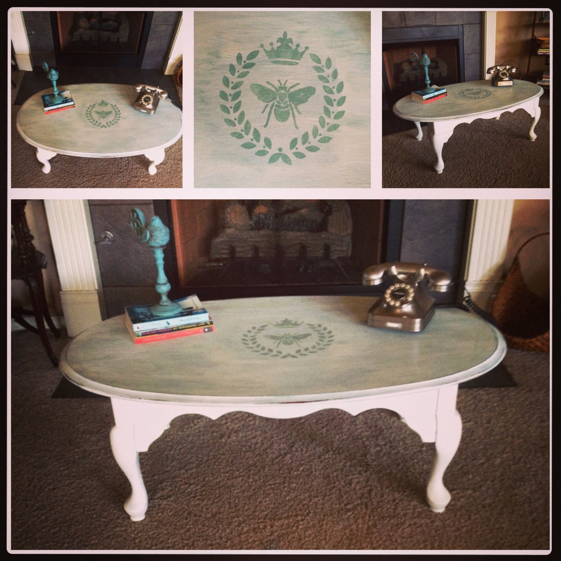 Queen anne style coffee table painted distressed and stenciled queen anne style coffee table painted distressed and stenciled geotapseo Choice Image