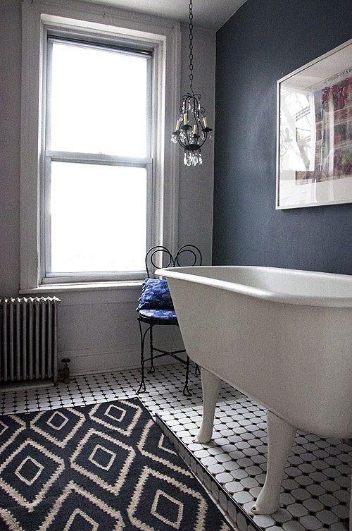 love this bathroom! beautiful rug, high clawfoot tub, wall color ...