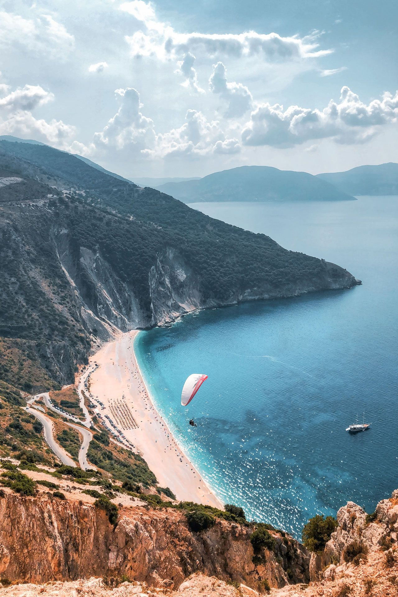 A Geological Masterpiece Myrtos Beach Has Been Sculpted By Nature To Create The Most Dramatic Backdrop To Your In 2020 With Images Myrtos Beach Kefalonia Ionian Islands