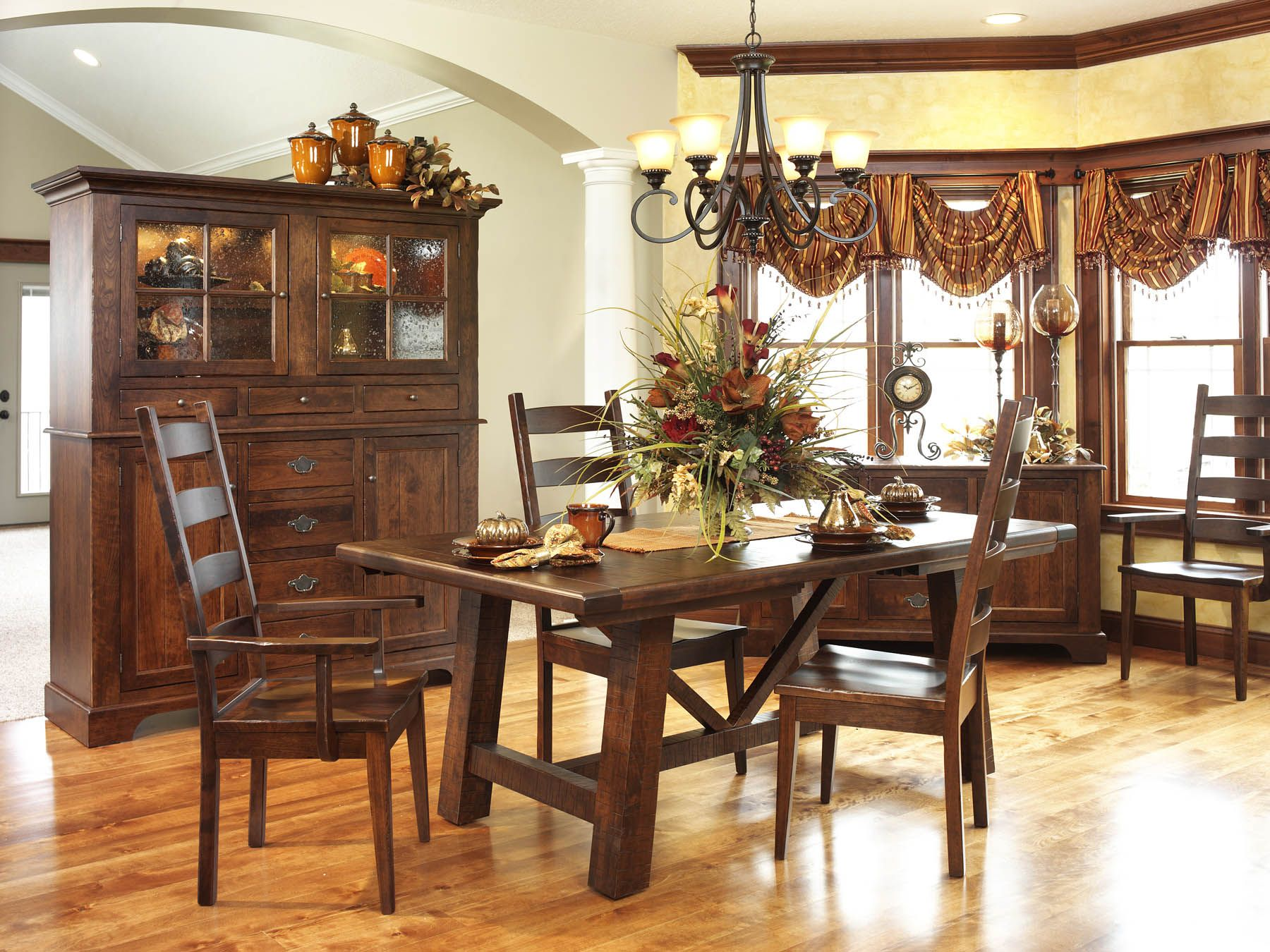 Early American Country Farmhouse Dining Room Set Amish