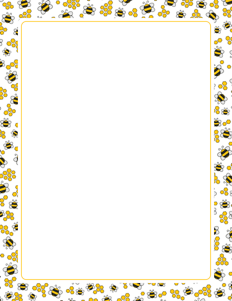 A page border with bees and honeycombs. Free downloads at