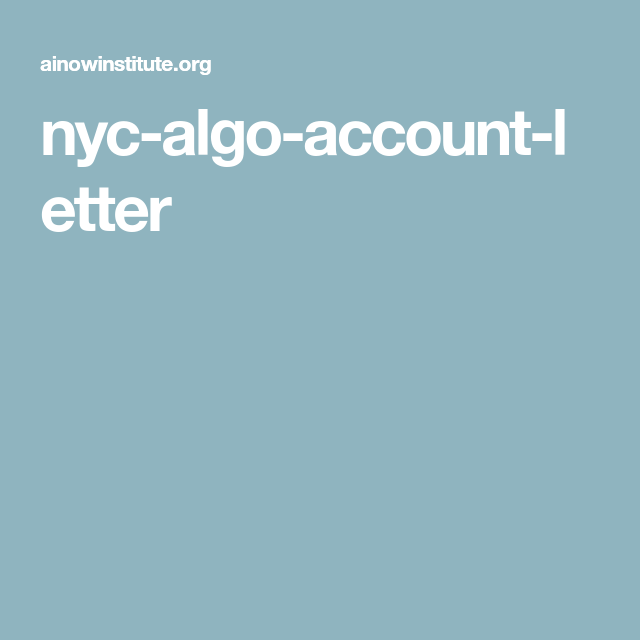 Nyc Algo Account Letter Nyc Lettering Accounting