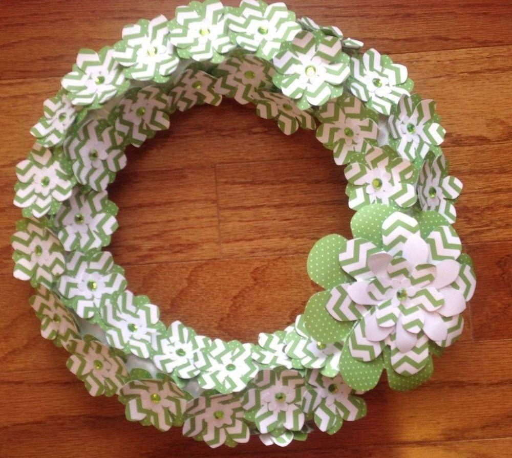 CHEVRON GREEN/WHITE ST. PATRICK'S DAY INSPIRED PAPER FLOWER WREATH HANDMADE #Handmade