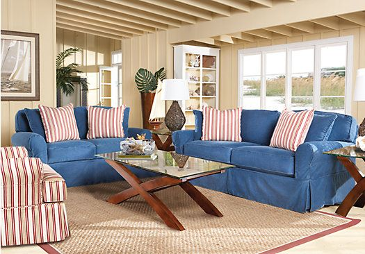 Shop for a cindy crawford home beachside blue 7 pc livingroom at rooms to go find living room for Rooms to go cindy crawford living room