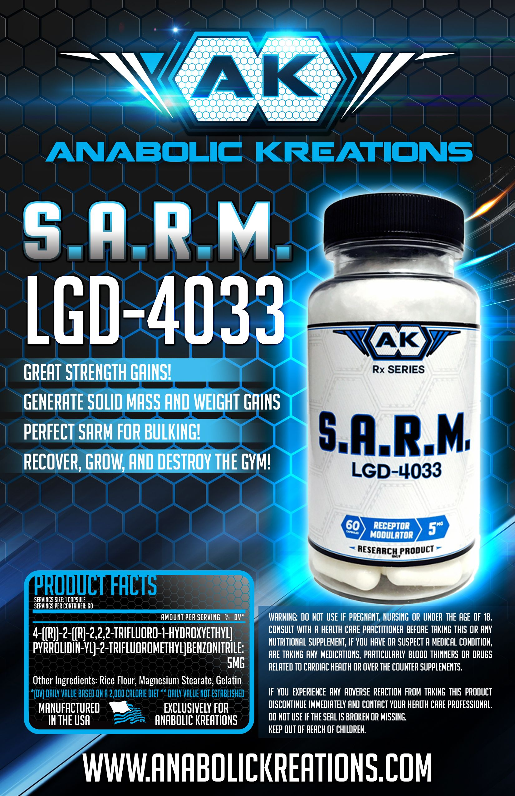 Anabolic Kreations SARM LGD-4033 #gains #solidmuscle