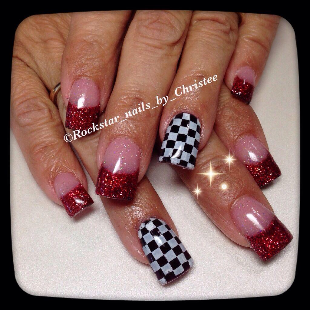Rockstar Nails checkered flag & glitter | Love Nails ...