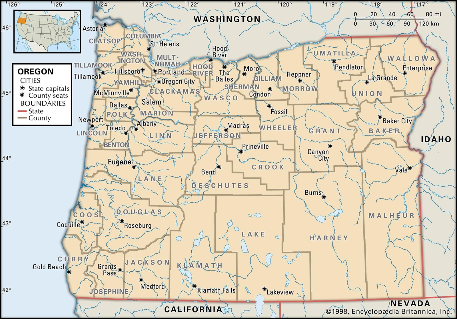 State And County Maps Of Oregon Oregon County Oregon Map Camping In Illinois
