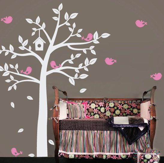 Sweet Birds Tree Wall Decal   Baby Nursery Children   Large Mural Vinyl  Decal   Boy