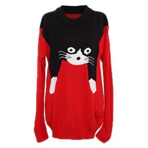 Cardigans/Jumpers - Cute Cat Crochet Red Jumper.Red jumper, featuring ribbed round neckline, long sleeves, ribbed cuffs and hem, black cute cat crochet on top. Mix with black skinny pants and flats when shopping with friends. - See more at: http://pariscoming.com/en-cute-cat-crochet-red-jumper-p151250.htm#sthash.Lh1eSMYI.dpuf